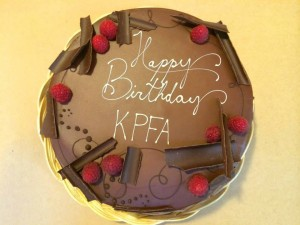 Cake for KPFA's 65th from Berkeley's Sweet Adeline Bakeshop